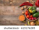 variety of fresh farm... | Shutterstock . vector #615176285