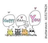 happy birthday card for cat... | Shutterstock .eps vector #615179624