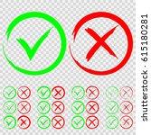 set of green check mark ok and...   Shutterstock .eps vector #615180281