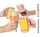 four people holding a beer...   Shutterstock . vector #615180929