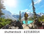 hiking man in canadian... | Shutterstock . vector #615183014