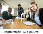 bored aloof corporate female... | Shutterstock . vector #615183095