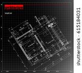architecture grid blueprint... | Shutterstock .eps vector #615184031