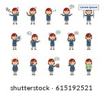 set of chibi woman characters... | Shutterstock .eps vector #615192521