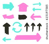 set of grunge arrows. hand... | Shutterstock .eps vector #615197585