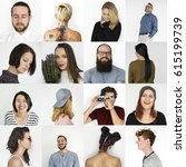 collection of people in various ... | Shutterstock . vector #615199739