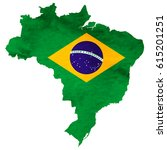 brazil map national flag icon | Shutterstock .eps vector #615201251