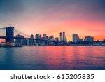 brooklyn bridge and manhattan... | Shutterstock . vector #615205835