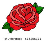flower rose  red buds and green ... | Shutterstock .eps vector #615206111