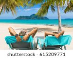 couple on the beach at tropical ... | Shutterstock . vector #615209771