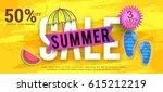 creative summer sale banner or... | Shutterstock .eps vector #615212219