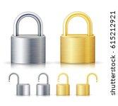 Locked And Unlocked Padlock...