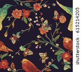 vintage seamless pattern  bird  ... | Shutterstock .eps vector #615214205