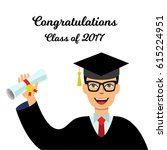 student in a graduate gown... | Shutterstock .eps vector #615224951