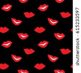 lips vector seamless pattern.... | Shutterstock .eps vector #615233597