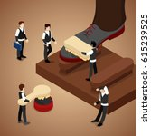 miniature people polishing shoe.... | Shutterstock .eps vector #615239525