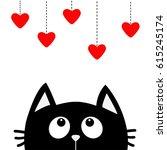 black cat looking up to hanging ... | Shutterstock . vector #615245174