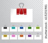 set of multicolored binder... | Shutterstock .eps vector #615251981