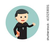 priest holding bible in circle... | Shutterstock .eps vector #615253031