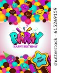 happy birthday party poster.... | Shutterstock .eps vector #615269159
