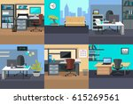 set of workplace and working... | Shutterstock . vector #615269561