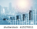 double exposure of coins and... | Shutterstock . vector #615270311