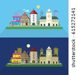 city street illustration at day ... | Shutterstock . vector #615272141