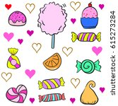 collection stock of candy... | Shutterstock .eps vector #615273284