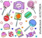 candy various cartoon doodle... | Shutterstock .eps vector #615273824