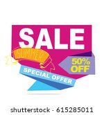 summer sale banner. vector... | Shutterstock .eps vector #615285011