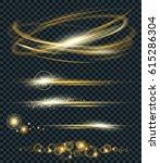 vector set of glow lightning... | Shutterstock .eps vector #615286304