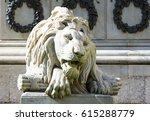 Marble Lions At A Small Square...