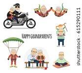 happy grandparents. vector set... | Shutterstock .eps vector #615290111