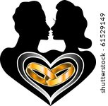 Raster version of marriage Icon Love Logo also available with Baby. - stock photo