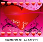 Raster version of a Valentine Background with hearts and scrolls. - stock photo