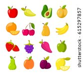 cartoon fruits vector clipart... | Shutterstock .eps vector #615297857