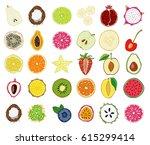 set of fresh hand drawn fruits...   Shutterstock .eps vector #615299414