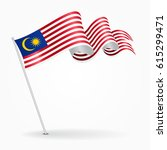 malaysian pin icon wavy flag.... | Shutterstock .eps vector #615299471
