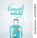 color plastic travel bag with... | Shutterstock .eps vector #615302801