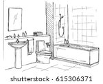 hand drawn sketch. linear... | Shutterstock .eps vector #615306371