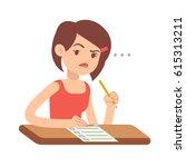 crazy worried young woman... | Shutterstock .eps vector #615313211