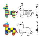 pinata horse colorful cartoon... | Shutterstock .eps vector #615313739