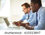 bearded afro american employee... | Shutterstock . vector #615313847
