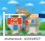 sale placard sign. hand of... | Shutterstock .eps vector #615318527