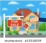 sale placard sign. hand of... | Shutterstock .eps vector #615318539