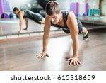 portrait of strong muscular man ... | Shutterstock . vector #615318659