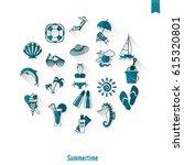 summer and beach simple flat... | Shutterstock .eps vector #615320801
