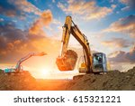 excavator in construction site... | Shutterstock . vector #615321221