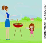 illustration of a family having ... | Shutterstock . vector #615327857