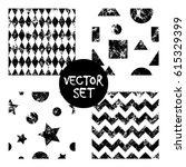 set of vector seamless patterns ... | Shutterstock .eps vector #615329399